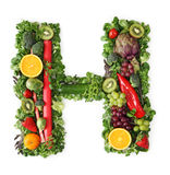 Fruit and vegetable alphabet. Letter H Royalty Free Stock Photo