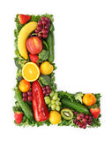 Fruit and vegetable alphabet Stock Photography