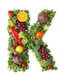 Fruit and vegetable alphabet. Letter K Stock Image
