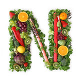 Fruit and vegetable alphabet. Letter N Stock Images