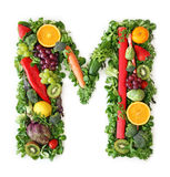 Fruit and vegetable alphabet. Letter M Stock Photography
