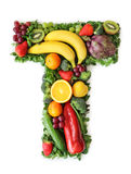 Fruit and vegetable alphabet. Letter T Royalty Free Stock Images