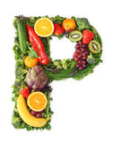 Fruit and vegetable alphabet. Letter P Stock Photos