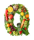 Fruit and vegetable alphabet. Letter Q Royalty Free Stock Image