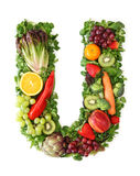 Fruit and vegetable alphabet. Letter U Royalty Free Stock Images