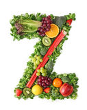 Fruit and vegetable alphabet. Letter Z Royalty Free Stock Images