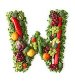 Fruit and vegetable alphabet. Letter W Stock Photos