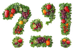 Fruit and vegetable alphabet. Punctuation Royalty Free Stock Photography