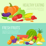 Fruit and vegetable banners Royalty Free Stock Images