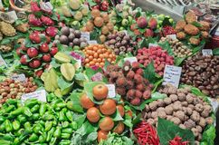 Fruit and vegetable in the Barcelona La Boqueria Market Royalty Free Stock Photos