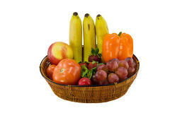 Fruit and vegetable basket Stock Images