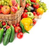 Fruit and vegetable in basket Royalty Free Stock Photos
