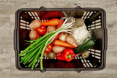Fruit And Vegetable Basket Stock Photography