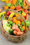 Fruit and vegetable basket Royalty Free Stock Photography