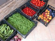 Fruit and vegetable boxes Royalty Free Stock Images