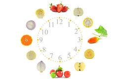 Fruit and vegetable clock Royalty Free Stock Images