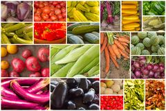 Fruit and Vegetable Collage Stock Images