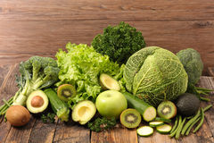 Fruit and vegetable. Composition with green fruit and vegetable Stock Images
