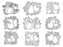 Fruit and vegetable compositions in retro sketch. Retro sketch fruit and vegetable compositions of fresh apples, pears, pumpkins, pomegranates, apricots, oranges Royalty Free Stock Photos