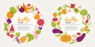 Fruit and vegetable decorative frames. To design a menu. Healthy diet, vegetarian and vegan Stock Image