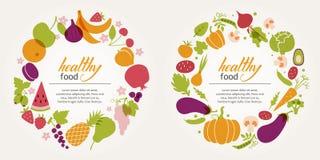 Fruit and vegetable decorative frames Stock Image