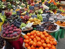 Fruit and vegetable display. In London`s borough market Stock Photo