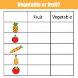 Fruit or vegetable educational children game, kids activity sheet. Fruit or vegetable educational children game, printable kids activity sheet Stock Photos