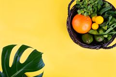 Fruit and vegetable flat lay style. royalty free stock image