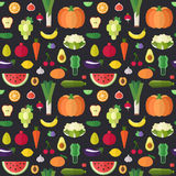 Fruit and vegetable flat vector seamless pattern. Part one. Royalty Free Stock Image