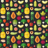 Fruit and vegetable flat vector seamless pattern. Part two. Stock Image