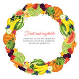 Fruit and vegetable garland. Round ornament with various vegetable, fruit and berries Royalty Free Stock Image