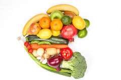 Fruit and vegetable heart isolated. Royalty Free Stock Photography