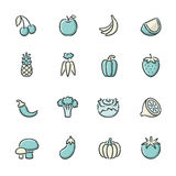Fruit and Vegetable Icons. Hand drawn blue and beige fruit and vegetable icons. File format is EPS8 Royalty Free Stock Image