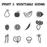 Fruit and vegetable icons Stock Image