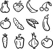 Fruit and vegetable icons set Stock Image