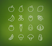 Fruit and vegetable icons Royalty Free Stock Photo