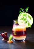 Fruit vegetable juice. Fresh apple,caroot and beetroot juice Stock Photos