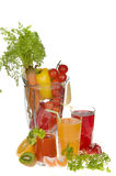 Fruit and vegetable juices. Fresh vegetable and fruit drinks,  food in blender over white background Stock Image