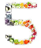 Fruit and Vegetable Letter. Photo of rainbow colorful abstract mix rectangles in a letter A shape with fruit and vegetable isolated on white background Stock Image