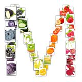 Fruit and Vegetable Letter. Photo of rainbow colorful abstract mix rectangles in a letter A shape with fruit and vegetable isolated on white background Royalty Free Stock Images