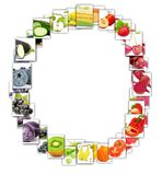 Fruit and Vegetable Letter. Photo of rainbow colorful abstract mix rectangles in a letter A shape with fruit and vegetable isolated on white background Royalty Free Stock Image
