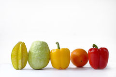 Fruit and vegetable in line Royalty Free Stock Photos