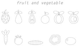 Fruit and vegetable line icon Stock Images