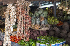 Fruit and Vegetable Market with mixed tropical locale products, Stock Images