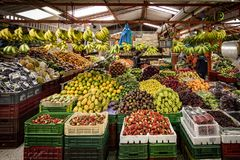 Fruit and Vegetable Market, Paloquemao, Bogota Colombia. A large variety of fruit and vegetables on display in the Paloquemao Market, Bogota Colombia`s Royalty Free Stock Photography