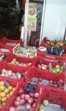 Fruit and vegetable market on the street corner in Sorrento Italy. Fruit and vegetables for sell in an open air market.  On a street corner in Sorrento Italy Stock Images