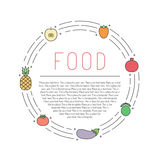 Fruit and vegetable multicolored outline circle frame with place for your text. Minimalistic design. Part three. Royalty Free Stock Photography