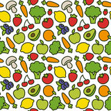 Fruit and vegetable pattern. Royalty Free Stock Photo