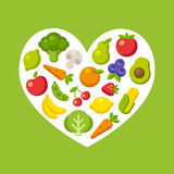 Fruit and vegetable patterned heart Royalty Free Stock Photo