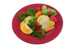 Fruit and vegetable plate Royalty Free Stock Photos